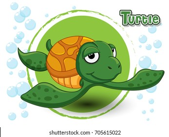 Cute Cartoon Turtle on a color background vector