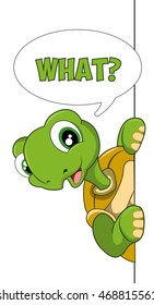 Cute cartoon turtle. What.