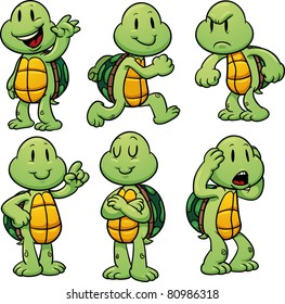 Cute cartoon turtles. Vector illustration with simple gradients. All in separate layers for easy editing.