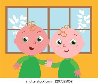 Cute cartoon twin brothers, vector illustration