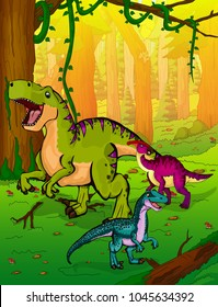 Cute cartoon Tyrannosaurus, parasaurolophus and velociraptor on the background of nature. Vector illustration of a cartoon dinosaurs.