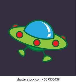 cute cartoon ufo vector, ufo doodle