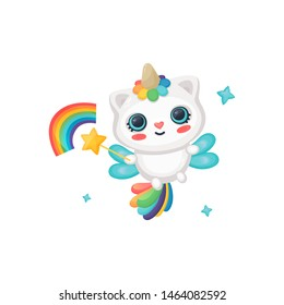 Cute cartoon unicorn cat with fairy wings and rainbow, funny fantasy animal design with colorful horn and tail flying and holding magic wand, happy vector illustration isolated on white background