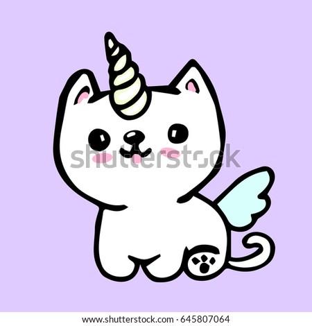 cute cartoon unicorn cat dog stock vector royalty free 645807064