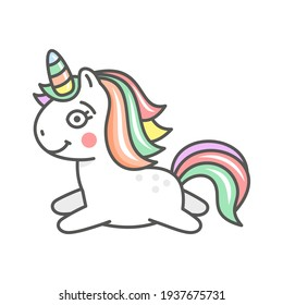 Cute Cartoon Unicorn Character Icon on White Background. Vector