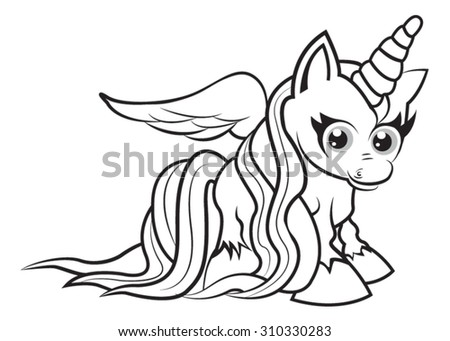 Cute Cartoon Unicorn Coloring Page Kids Stock Vector Royalty Free