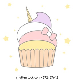 cute cartoon unicorn cupcake vector illustration