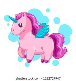 Cute cartoon unicorn, fantasy little beautiful horse for game design.