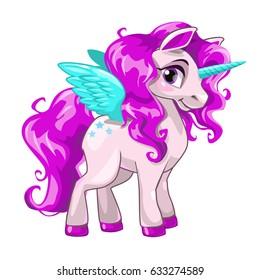Cute cartoon unicorn. Fantasy little beautiful  horse icon, vector girlish  illustration.