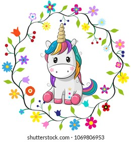 Cute Cartoon Unicorn in a flowers frame on a white background