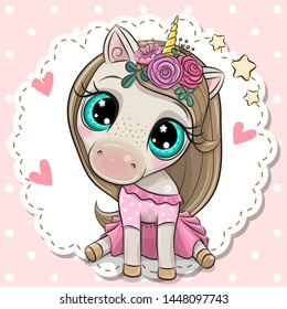 Cute Cartoon Unicorn with a flowers on a pink background