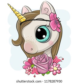 Cute Cartoon Unicorn with flowerson a blue background