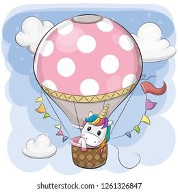 Cute Cartoon Unicorn is flying on a hot air balloon