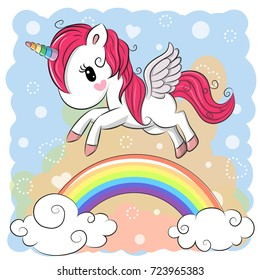 Cute Cartoon Unicorn is flying over the rainbow
