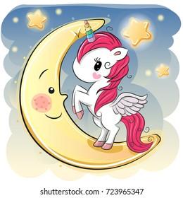 Cute Cartoon Unicorn girl on the moon