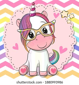 Cute cartoon Unicorn with glasses on the rainbow background