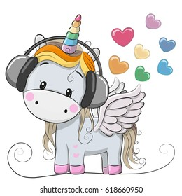 Cute Cartoon Unicorn with headphones and hearts
