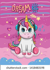 Cute Cartoon Unicorn with headphones and melodies. Romantic story. Wonderland. Fabulous background with clouds, stars and waves. Vector illustration.