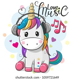 Cute Cartoon Unicorn with headphones on a blue background