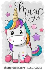 Cute Cartoon Unicorn isolated on a gray background