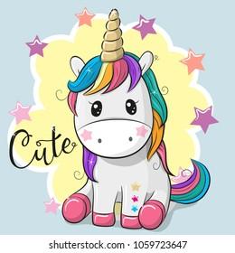 Cute Cartoon Unicorn isolated on a blue background