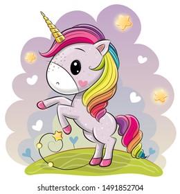 Cute Cartoon Unicorn with a lush rainbow mane on a meadow