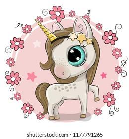 Cute Cartoon Unicorn on a flowers background