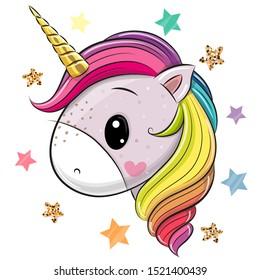 Cute Cartoon Unicorn on a White background