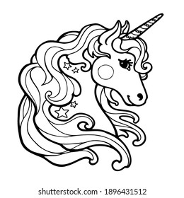 Cute Cartoon unicorn outlined black and white illustration. Black and white, linear, image of coloring books, prints, posters, stickers