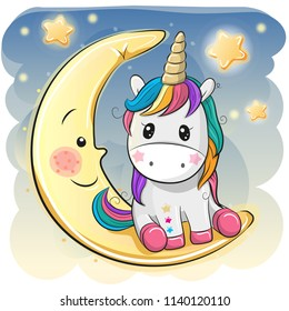 Cute Cartoon Unicorn in a pilot hat is sitting on the moon