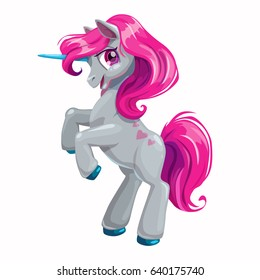Cute cartoon unicorn with pink hair. Vector isolated illustration on white background.