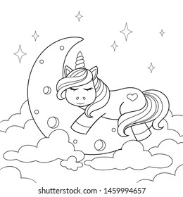 Cute cartoon unicorn sleeping on the moon in clouds. Black and white illustration for coloring book
