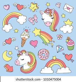 Cute cartoon unicorn sticker or patch set. Vector illustration.