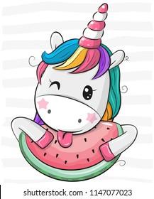 Cute Cartoon Unicorn with watermelon on striped background