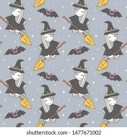 cute cartoon unicorn witch flying on broom and bats halloween seamless vector pattern background illustration