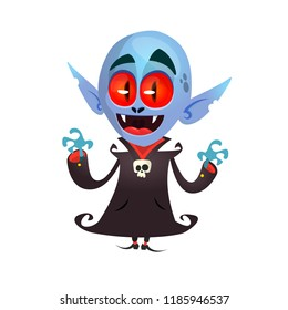 Cute cartoon vampire with red eyes. Vector illustration of dracula