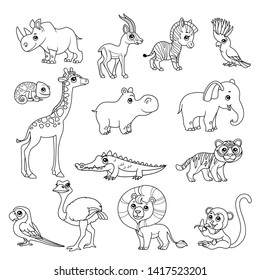 Cute cartoon various African animals set black doodles outline on a white background for coloring page