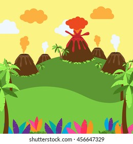 Cute Cartoon Vector Background of Desert, Jungle or Dinosaur Era Landscape