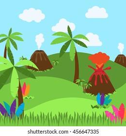 Cute Cartoon Vector Background of Desert, Jungle or Dinosaur Era Landscape