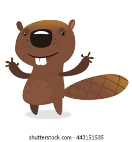 Cute cartoon vector beaver waving with his hands. Fluffy beaver character with big teeth presenting. Brown beaver mascot illustration. Fat beaver animal icon isolated on white background