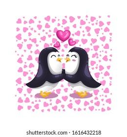 Cute Cartoon Vector Couple Penguin Kissing Falling in Love