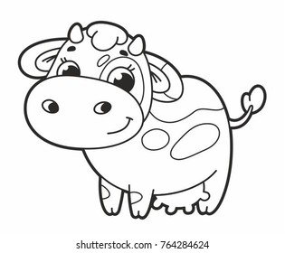 Cute cartoon vector cow. Funny calf. Vector illustration for kids.