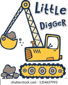 cute cartoon vector digger illustration for kids apparels