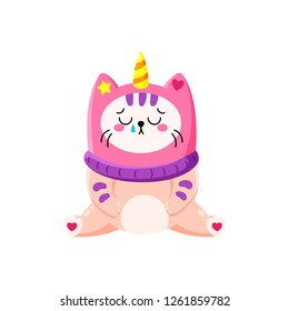 Cute cartoon vector doodle cat. Kitten in a unicorn hat. Magic character. Template for greeting cards, design, textiles. Upset cat crying