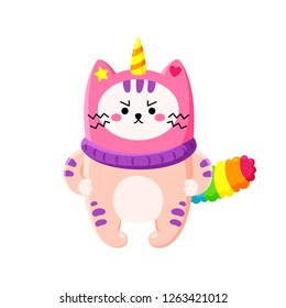 Cute cartoon vector doodle cat. Kitten in a unicorn hat. Magic character. Template for greeting cards, design, textiles. Unhappy angry cat
