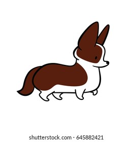 Cute cartoon vector drawing of dog head of Welsh Corgi breed