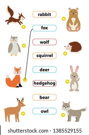 Cute cartoon vector forest animals. Match words with the correct pictures. Learn english words. For preschool kids activity worksheet.