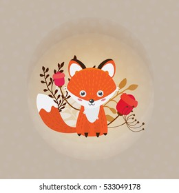 Cute cartoon vector fox.