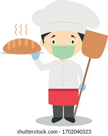 Cute cartoon vector illustration of a baker with surgical mask and latex gloves as protection against a health emergency
