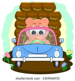 cute cartoon vector illustration. cute bear in car with honey. cartoon vector illustration.